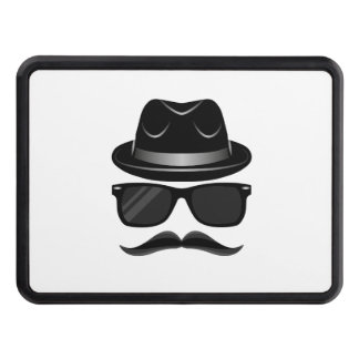 Cool Hipster with mustache, hat and sunglasses Tow Hitch Cover