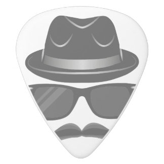 Cool Hipster with mustache, hat and sunglasses White Delrin Guitar Pick
