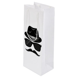 Cool Hipster with mustache, hat and sunglasses Wine Gift Bag