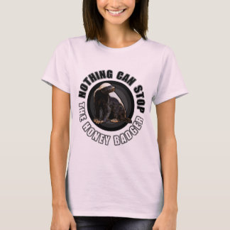 Cool Honey Badger Round Logo Style Graphic T-Shirt
