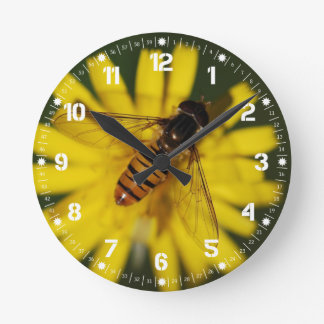 Cool Honey Bee on Flower in Nature Photography Round Clock