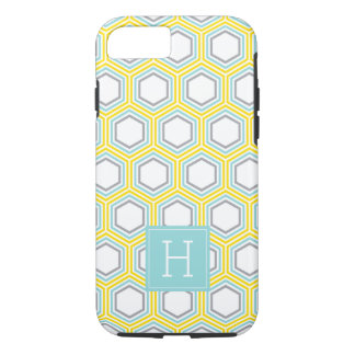 Cool Honeycomb Pattern and Aqua Monogram iPhone 7 Case