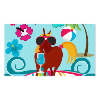 Cool Horse Surfer Dude Summer Fun Beach Party Business Cards