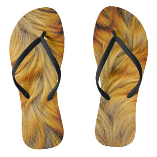 Cool Horse tail brown fur texture background Flip Flops
