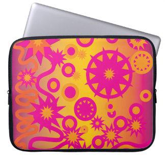 Cool Hot Pink Orange Girly Stars Circles Pattern Laptop Sleeve