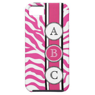 Cool Hot Pink  Zebra Print Personalized iPhone 5 Cover