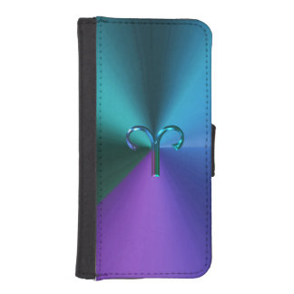 Cool Hued Metallic Zodiac Sign Aries iPhone SE/5/5s Wallet Case
