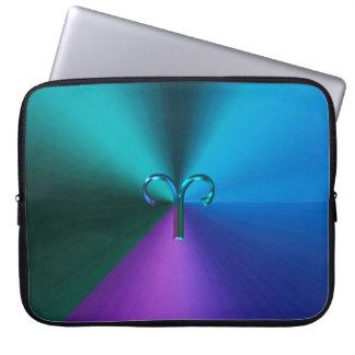 Cool Hued Metallic Zodiac Sign Aries Laptop Sleeve