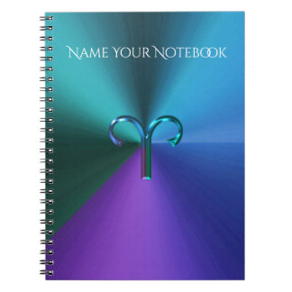 Cool Hued Metallic Zodiac Sign Aries Notebooks