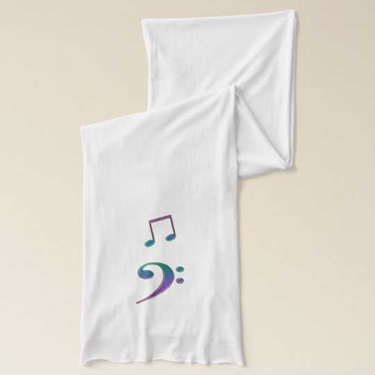 Cool Hued Rainbow Music Clefs and Notes Scarf Wrap