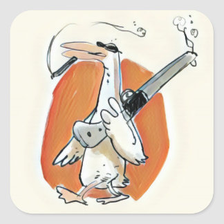 cool hunter duck funny cartoon square sticker