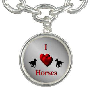 Cool I Heart Horses Design Charm Bracelet