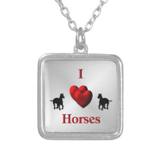 Cool I Heart Horses Design Silver Plated Necklace
