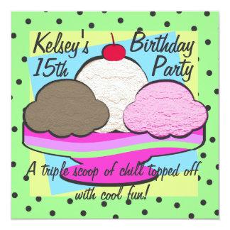 "Cool Ice Cream Birthday 5.25"" Square Invitation Card"