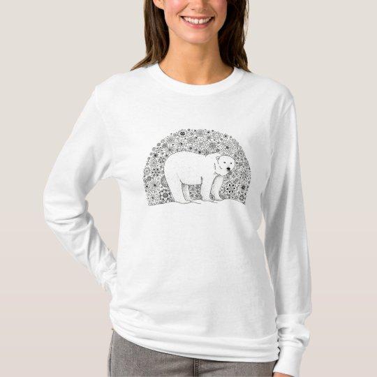 Cool Illustrated Artsy Floral Polar Bear Pen Art T-Shirt