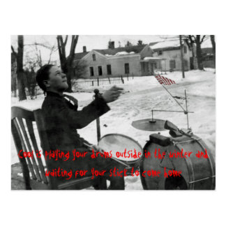 Cool Is Playing your Drums in Winter Outside Postcard