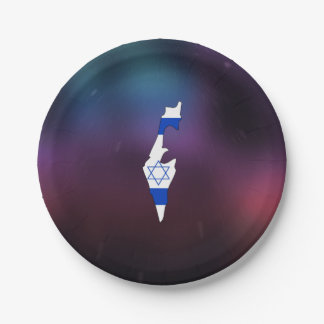 Cool israel Flag Map Paper Plate