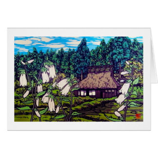 Cool japanese forest summer house flower nature card