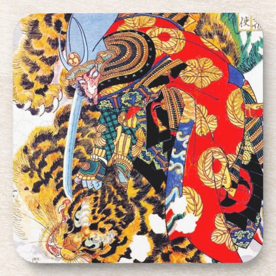 Cool Japanese Legendary Samurai Fight Tiger Art Coaster