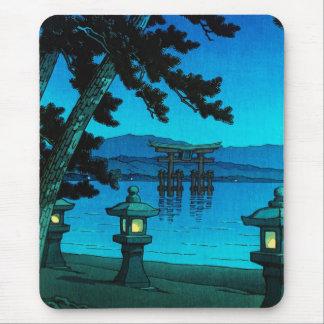 Cool japanese moonlit night gate sea hasui kawase mouse pad