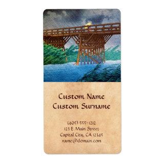 Cool japanese rain bridge river forest Kawase art Shipping Label