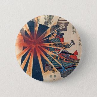 Cool Japanese Samurai Warrior Blistering Sun Art 2 Inch Round Button