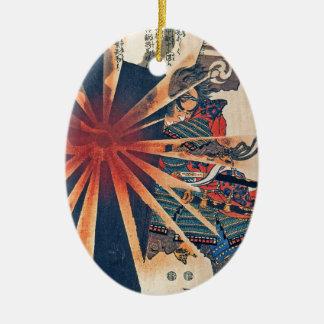 Cool Japanese Samurai Warrior Blistering Sun Art Ceramic Ornament