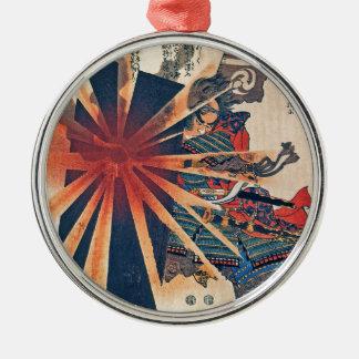 Cool Japanese Samurai Warrior Blistering Sun Art Metal Ornament