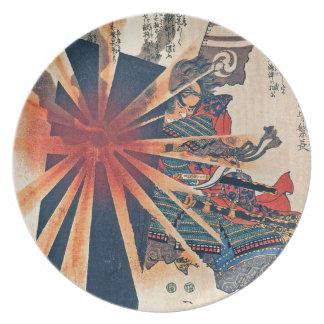 Cool Japanese Samurai Warrior Blistering Sun Art Plate