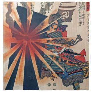 Cool Japanese Samurai Warrior Blistering Sun Art Printed Napkins