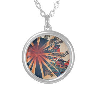 Cool Japanese Samurai Warrior Blistering Sun Art Silver Plated Necklace