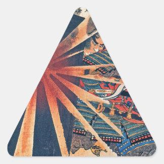 Cool Japanese Samurai Warrior Blistering Sun Art Triangle Sticker
