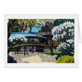 Cool japanese spring village town bridge cherry card