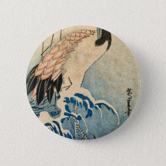 Cool japanese vintage ukiyo-e crane bird scroll 2 inch round button