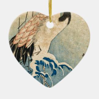 Cool japanese vintage ukiyo-e crane bird scroll ceramic ornament