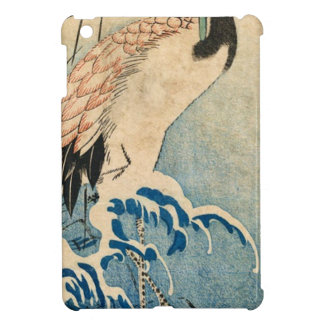 Cool japanese vintage ukiyo-e crane bird scroll iPad mini cases