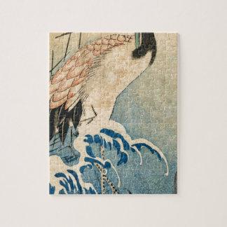 Cool japanese vintage ukiyo-e crane bird scroll jigsaw puzzle