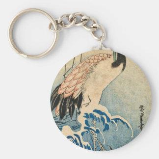 Cool japanese vintage ukiyo-e crane bird scroll keychain