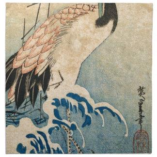 Cool japanese vintage ukiyo-e crane bird scroll napkin