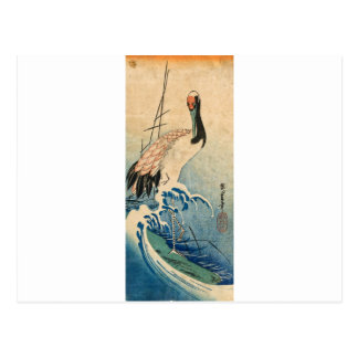 Cool japanese vintage ukiyo-e crane bird scroll postcard