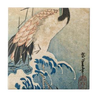 Cool japanese vintage ukiyo-e crane bird scroll tile
