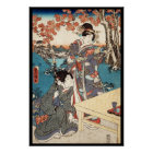 Cool japanese vintage ukiyo-e geisha old scroll poster
