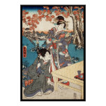 Cool japanese vintage ukiyo-e geisha old scroll poster