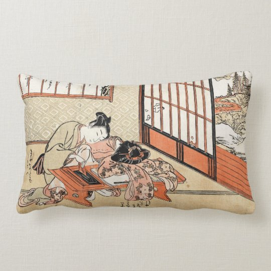 Cool japanese vintage ukiyo-e geisha scroll lumbar pillow