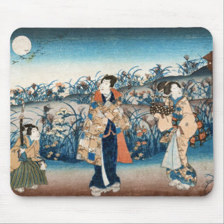 Cool japanese vintage ukiyo-e moonlit night scene mouse pad