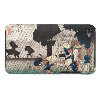 Cool japanese vintage ukiyo-e rainy day scene barely there iPod covers
