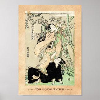 Cool japanese vintage ukiyo-e scroll two geishas poster