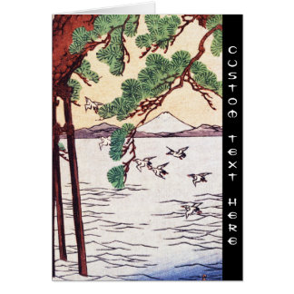 Cool japanese vintage ukiyo-e sea tree birds scene card