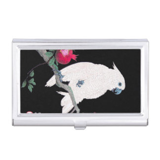 Cool japanese white cockatoo parrot tropical bird business card cases