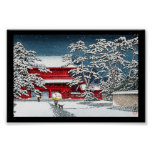 Cool japanese winter temple shrine kyoto scenery poster